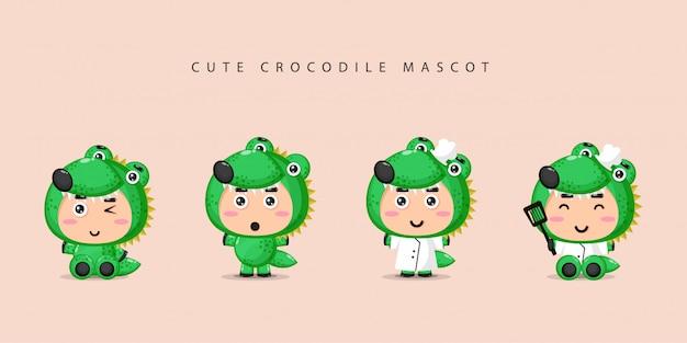 Ensemble de mascotte de crocodile mignon