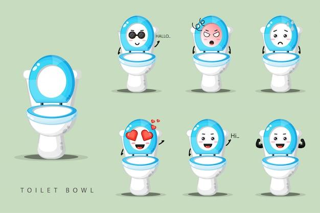 Ensemble de mascotte de cuvette de toilette mignon
