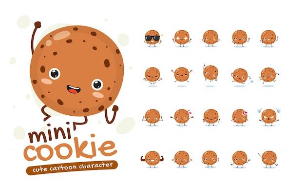 Ensemble de mascotte du mini cookie. vingt mascottes posent. illustration isolée