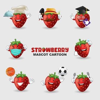 Ensemble de mascotte fraise dans plusieurs poses