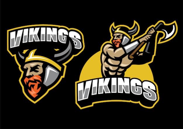 Ensemble de mascotte guerrier viking