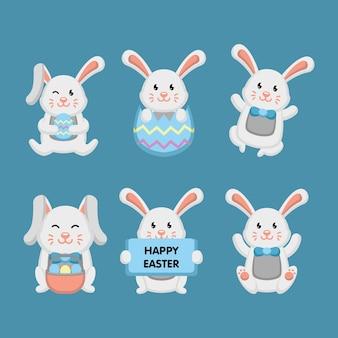 Ensemble de mascotte de lapin de pâques, tenant des oeufs de pâques