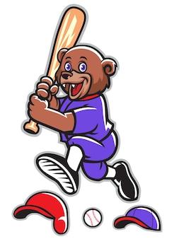 Ensemble de mascotte d'ours de baseball de dessin animé