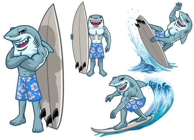 Ensemble de mascotte de personnage de dessin animé grand requin blanc surf