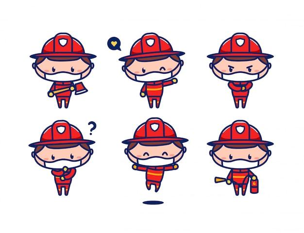Ensemble de mascotte de personnage de pompier mignon pompier travailleur agent usure masque de protection contre les virus