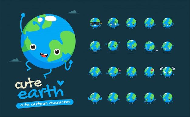 Ensemble de mascotte de la terre. vingt mascottes posent. illustration isolée