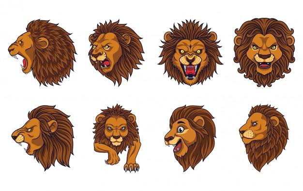 Ensemble de mascotte tête de lion