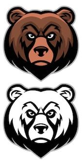 Ensemble de mascotte de tête d'ours en colère