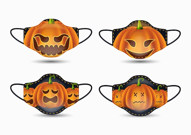 Ensemble de masque facial en tissu avec citrouille réaliste halloween