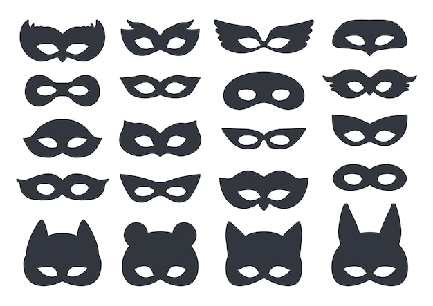 Ensemble de masque de silhouette de carnaval