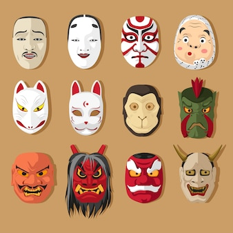 Ensemble de masque traditionnel japonais