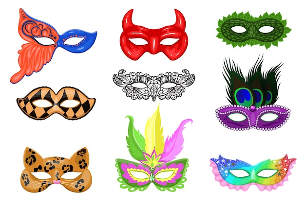 Ensemble de masques de carnaval isolés