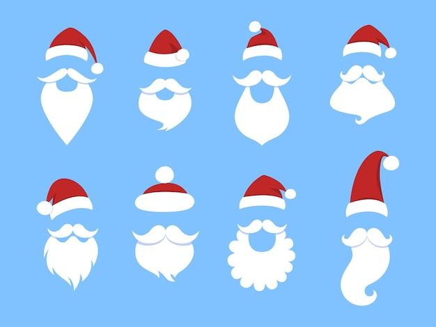 Ensemble de masques de père noël mignons drôles. barbe, chapeau rouge et moustache. illustration