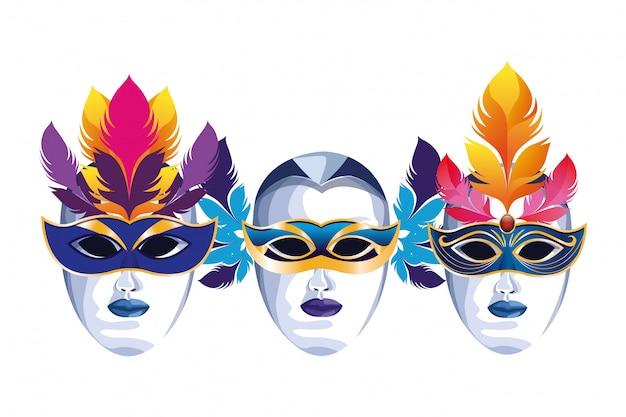 Ensemble de masques à plumes