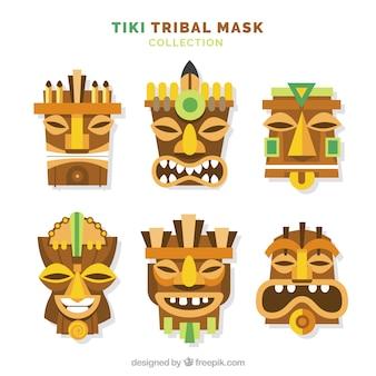 Ensemble de masques tiki tribaux en bois