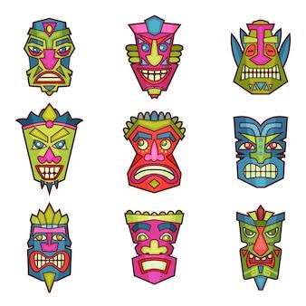 Ensemble de masques tribaux indiens ou africains, illustration en bois découpé coloré sur fond blanc