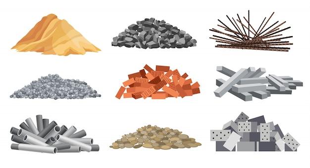 Ensemble de matériaux de construction en tas. briques, sable, gravier, etc. concept de construction. les illustrations peuvent être utilisées pour les chantiers de construction, les travaux et le gravier industriel