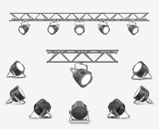 Ensemble de matériel d'éclairage. projecteurs suspendus sur une poutre métallique. ensemble de lampes en projecteurs