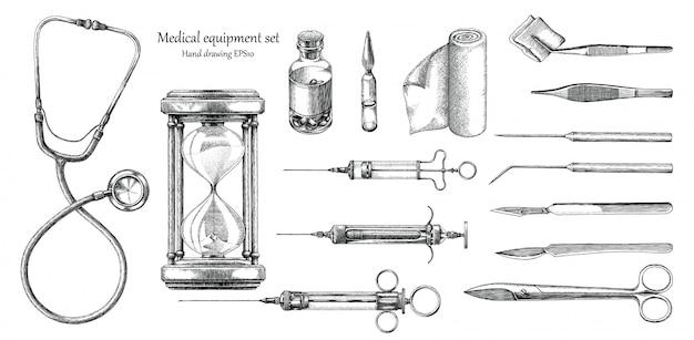 Ensemble de matériel médical dessin style vintage à la main