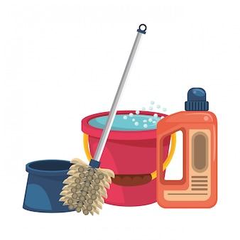 Ensemble de matériel et de produits de nettoyage