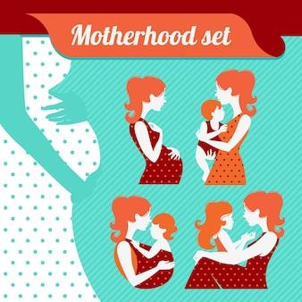 Ensemble de maternité. silhouettes de mère et bébé