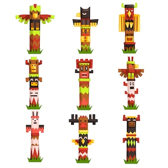 Ensemble de mâts totémiques religieux traditionnels, symbole tribal de la culture indigène, masques d'idole sculptés vector illustrations
