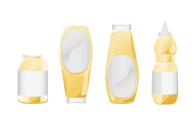 Ensemble de mayonnaise dans des bouteilles en verre. pots avec sauce blanche. contenants de condiments en style cartoon. illustration vectorielle.