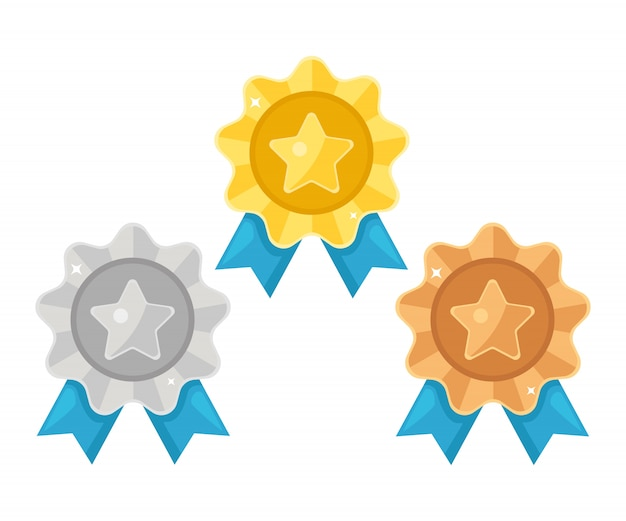 Ensemble de médaille d'or, d'argent, de bronze avec étoile pour la première place. trophée, prix du gagnant isolé sur fond blanc. insigne doré avec ruban. réalisation, concept de victoire. design plat de dessin animé