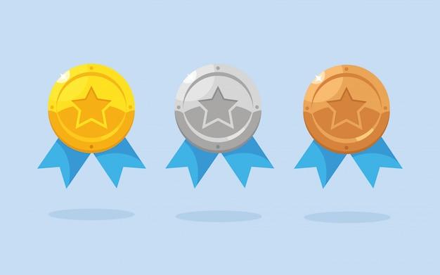 Ensemble de médaille d'or, d'argent, de bronze avec étoile pour la première place. trophée, récompense pour le gagnant isolé sur fond. insigne doré avec ruban. réalisation, concept de victoire. design plat de dessin animé