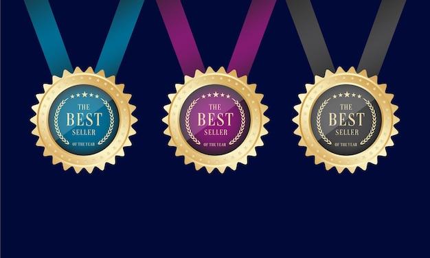Ensemble de médaille d'or du prix du meilleur vendeur