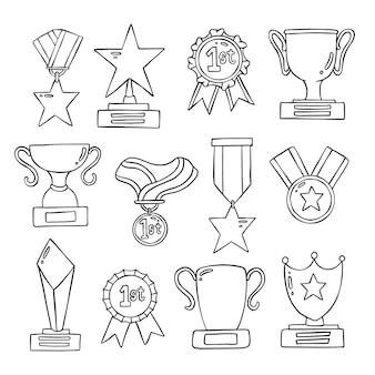 Ensemble de médaille et trophée de doolde dessinés à la main