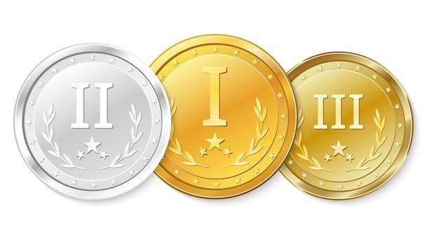Ensemble de médailles d'or, d'argent et de bronze. prix pour la première, deuxième et troisième place.