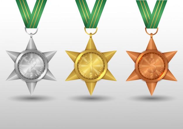 Ensemble de médailles d'or, d'argent et de bronze