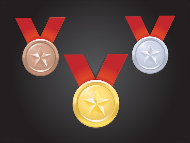 Ensemble de médailles de vecteur avec étoile