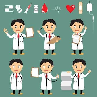 Ensemble de médecin de dessin animé sympathique