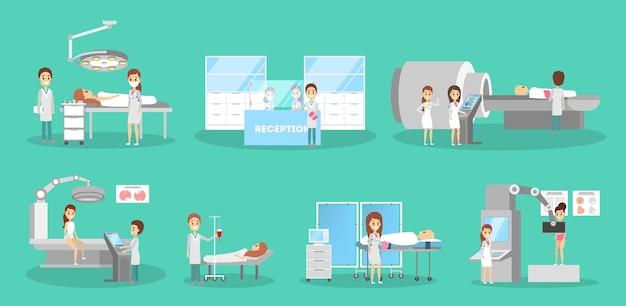 Ensemble médecin et patient. collection de personnes
