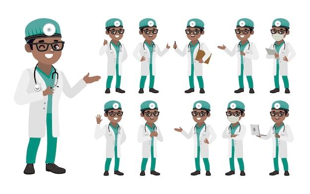 Ensemble de médecin avec des poses différentes