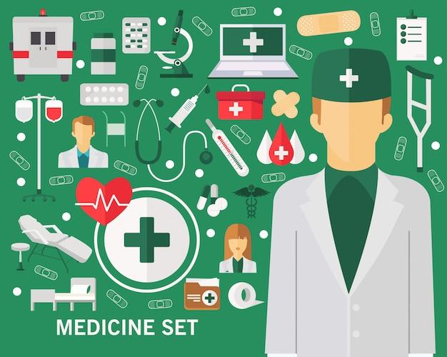 Ensemble de médecine concept fond