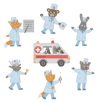 Ensemble de médecins des animaux avec voiture d'ambulance