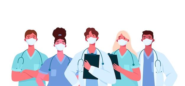 Ensemble de médecins au design plat