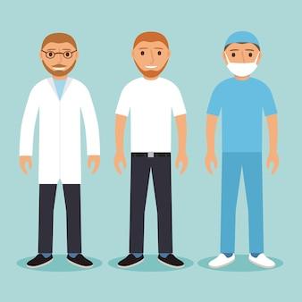 Ensemble de médecins de caractères médicaux.