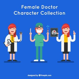 Ensemble de médecins féminins amusants