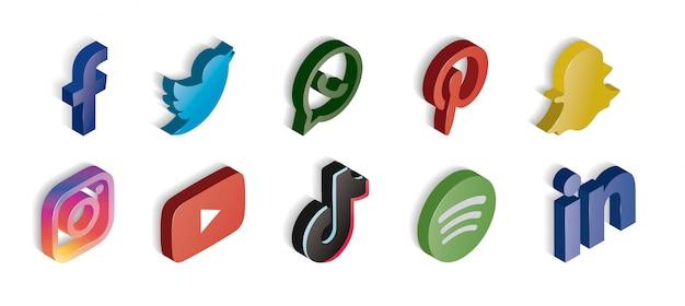 Ensemble de médias sociaux brillant d'icônes isométrique