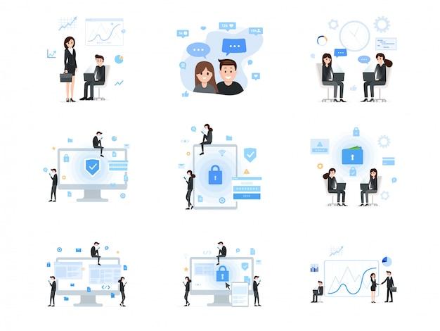 Ensemble de médias sociaux et de communication d'entreprise