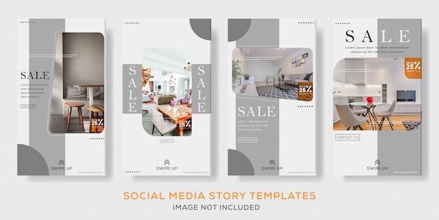 Ensemble de médias sociaux intérieurs modèle de bannière de post stories premium