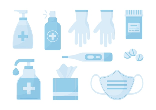 Ensemble médical. désinfectant, masque facial, gants, spray antibactérien, lingettes, pilules. illustration de la santé
