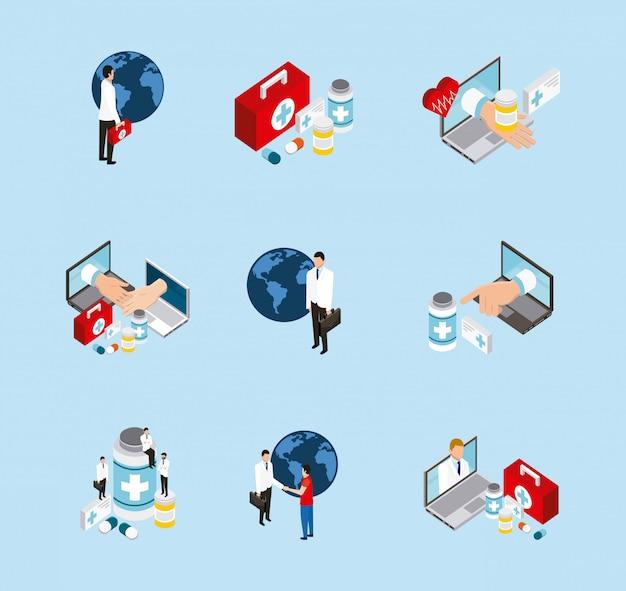 Ensemble médical d'icônes de santé