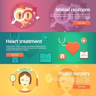 Ensemble médical et sanitaire. sexologie. traitement cardiaque. cardiologie. anaphylactique. chirurgie plastique. illustrations modernes. bannières horizontales.