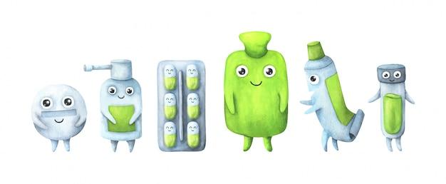 Un ensemble de médicaments sous forme de personnages de dessins animés pour enfants en vert.