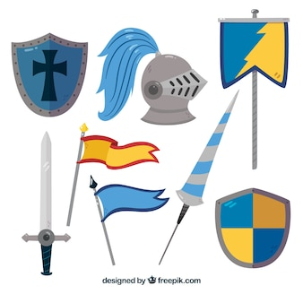 Ensemble médiéval d'éléments de chevalier